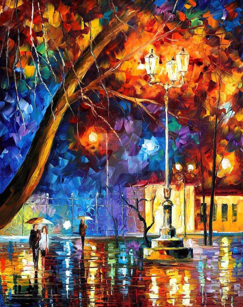 Winter rain by leonid afremov by leonidafremov on deviantart for Americas best paint