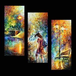 Aura Of Autumn set of 3  by Leonid Afremov