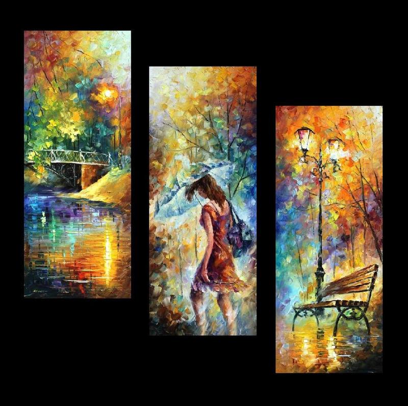 Aura Of Autumn set of 3  by Leonid Afremov by Leonidafremov