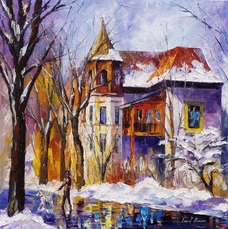 Winter Stroll by Leonid Afremov by Leonidafremov