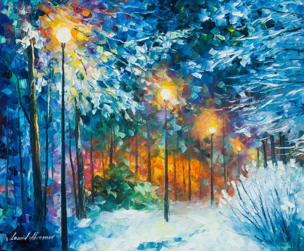 Midnight Snow Songs By Leonid Afremov By Leonidafremov On