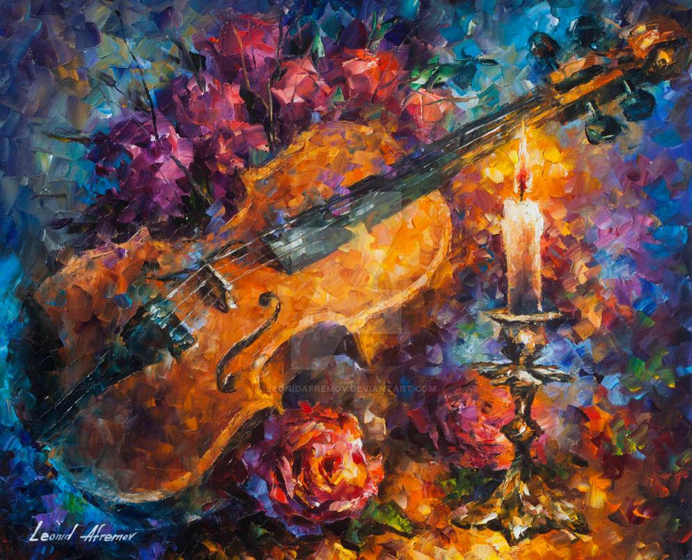Mozzart 39 s violin by leonid afremov by leonidafremov on for Arts and craft paint
