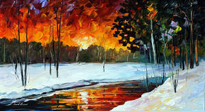 Winter Evening by Leonid Afremov by Leonidafremov