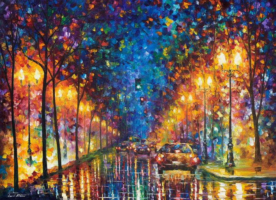 Oakland rain 2 by leonid afremov by leonidafremov on for Buy mural paintings