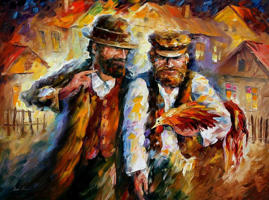 Two Friends And Rooster by Leonid Afremov by Leonidafremov