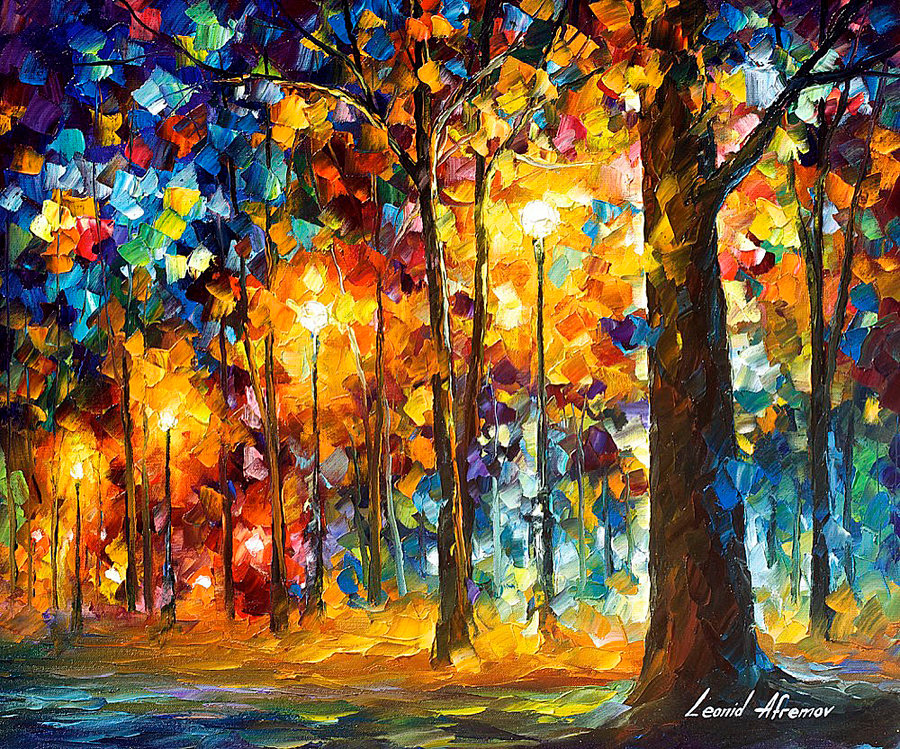 Trees in the park by leonid afremov by leonidafremov on for What is canvas painting