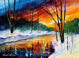 Winter Sunset by Leonid Afremov by Leonidafremov