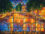 Amsterdam - The Bridge Of Bicycles by L.Afremov