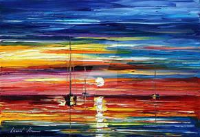 Lovely Sunset by Leonid Afremov by Leonidafremov
