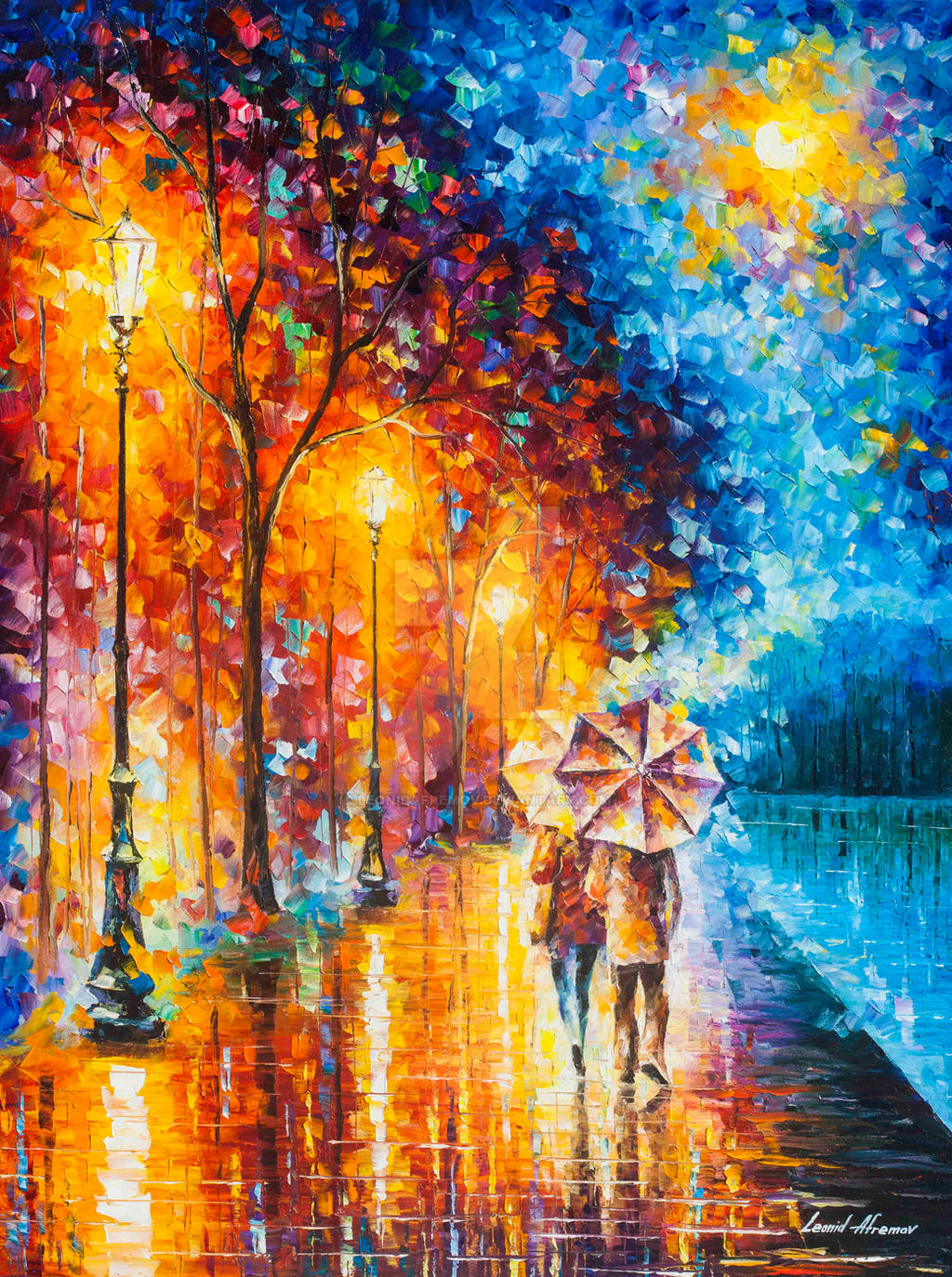 Love by the lake 2 by leonid afremov by leonidafremov on for Beautiful painting images