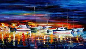 Yacht Club Night by Leonid Afremov