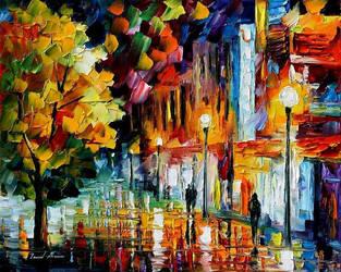 After A Night Rain by Leonid Afremov by Leonidafremov