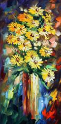 Yellow Flowers by Leonid Afremov by Leonidafremov