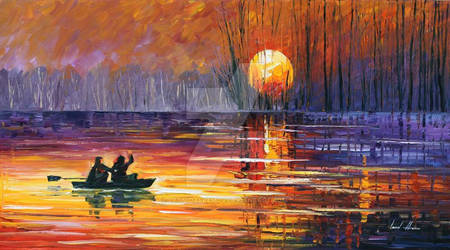 Sunset Fishing by Leonid Afremov