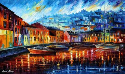 Blue Harbor by Leonid Afremov by Leonidafremov
