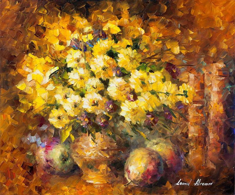 Yellow mood by leonid afremov by leonidafremov on deviantart for Yellow wall paint mood