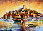 Town On The Hill by Leonid Afremov