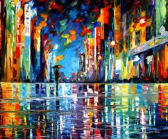 Reflections Of The Blue Night by Leonid Afremov by Leonidafremov