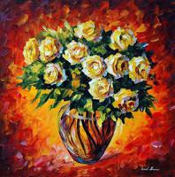 Yellow Roses by Leonid Afremov by Leonidafremov