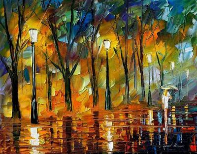 Dark Park 2 by Leonid Afremov by Leonidafremov