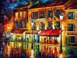 Paris, Night Montmartre by Leonid Afremov by Leonidafremov