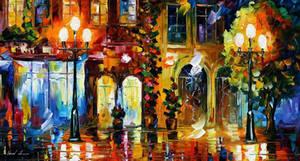Night Doors by Leonid Afremov by Leonidafremov