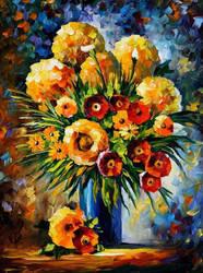 Flowers Of Happiness by Leonid Afremov by Leonidafremov