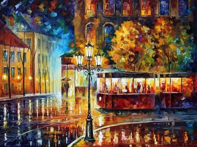 Night Trolley by Leonid Afremov by Leonidafremov