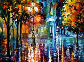 Downtown Night Lights by Leonid Afremov
