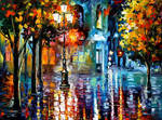 Downtown Night Lights by Leonid Afremov