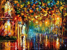 Late Stroll - Miami by Leonid Afremov