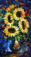 Night Sunflowers by Leonid Afremov by Leonidafremov
