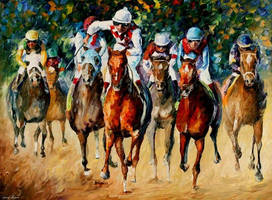 Horse Race by Leonid Afremov by Leonidafremov