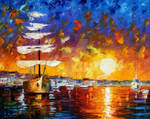The Sunset Sailer by Leonid Afremov