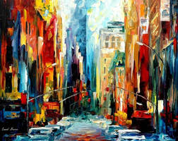 New York Early Morning by Leonid Afremov by Leonidafremov