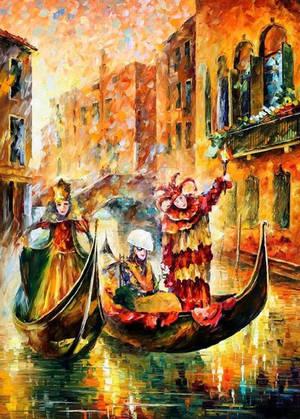 Venice, Gondola by Leonid Afremov by Leonidafremov
