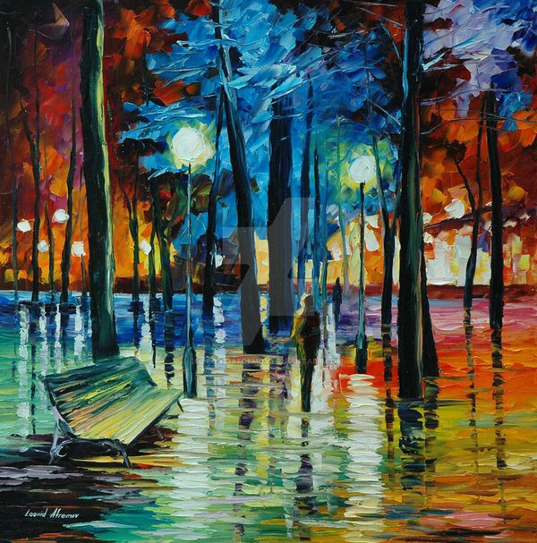Blue Reflections by Leonid Afremov by Leonidafremov