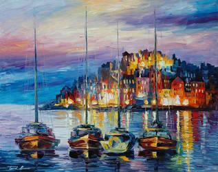 Evening Harbor by Leonid Afremov by Leonidafremov