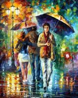 Strong Rain by Leonid Afremov by Leonidafremov
