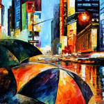 Rain On Times Square by Leonid Afremov