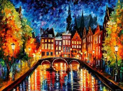 Amsterdam - Canal by Leonid Afremov by Leonidafremov