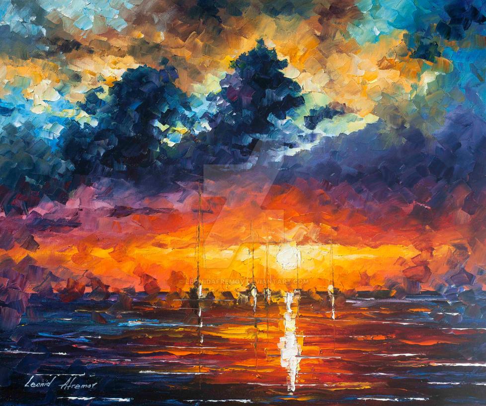 Flashing Lights by Leonid Afremov by Leonidafremov