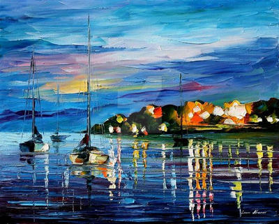 Night Harbor by Leonid Afremov by Leonidafremov