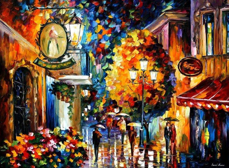 Cafe In The Old City by Leonid Afremov by Leonidafremov