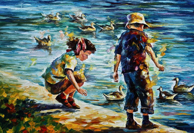 Childhood by Leonid Afremov by Leonidafremov