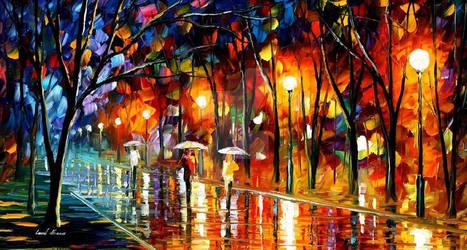 Evening Rain In The Park by Leonid Afremov