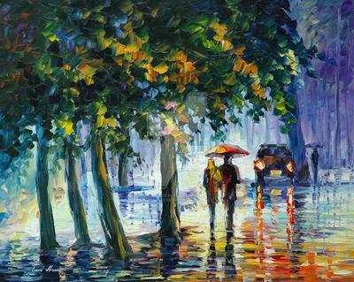 Rainy Stroll by Leonid Afremov by Leonidafremov