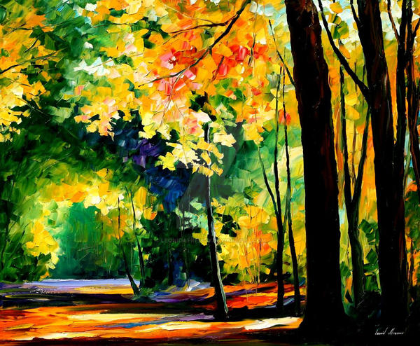 Morning Forest 1 by Leonid Afremov by Leonidafremov