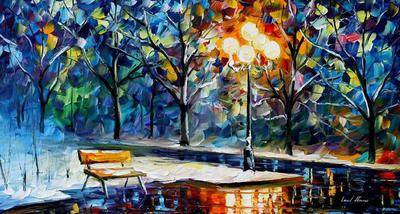 Winter night by Leonid Afremov by Leonidafremov