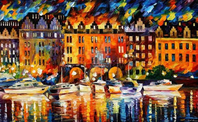 Castle By The River by Leonid Afremov by Leonidafremov